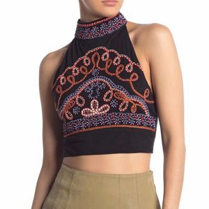 Free People NWT Goa Embroidered Halter Crop Top M